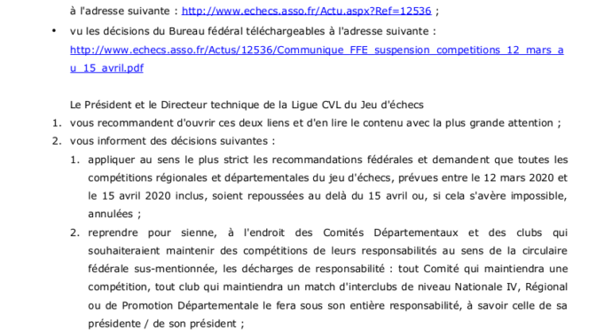 CO-VID 19 – Mise a jour au 4 mai 2020 – INTERCLUBS TERMINES