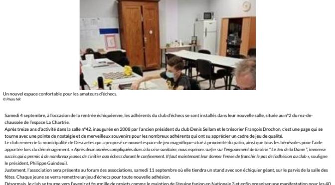 L'ECHIQUIER DESCARTOIS DEMENAGE…UN ETAGE PLUS BAS !